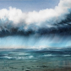 8 'RAIN OVER THE NORTHSEA' 76 x 56 cm