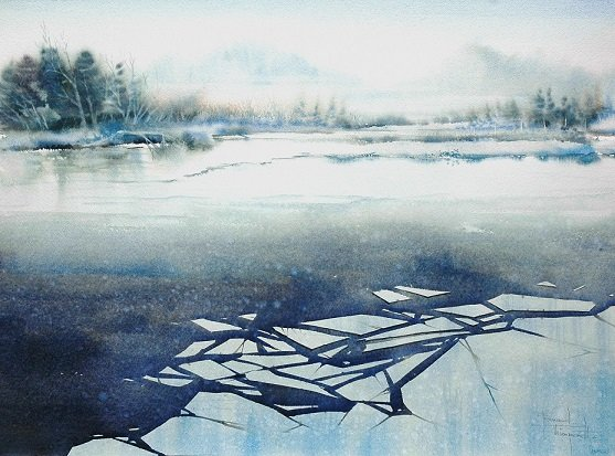 230 'BROKEN ICE, LAKE DISTRICT' 76 X 56 cm
