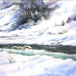 230.05 'THE HALF FROZEN RIVER' 76 X 56 cm